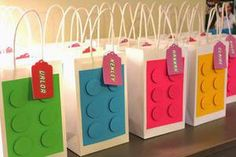 This is my and final post chronicling the fun of Claire& Girly Lego Birthday Party! To make the Lego party favor bags, I used . Lego Party Favors, Lego Themed Party, Lego Birthday Party, 6th Birthday Parties, Party Favor Bags, 4th Birthday, Lego Party Decorations, Birthday Ideas, Lego Birthday Banner