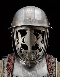 King James II of England's Harquebusier armour, The faceplate is decorated with the royal Coat of Arms. Not strictly a uniform but cool nonetheless, picture of full armour in comments. Armadura Medieval, Ancient Armor, Medieval Armor, Medieval Helmets, Knight In Shining Armor, Knight Armor, Renaissance, Arm Armor, Body Armor
