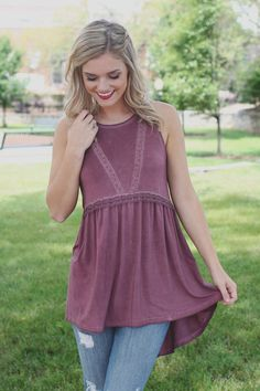 Sleeveless Lace Detail Lace Up Back Babydoll Top