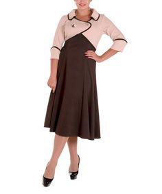 Look at this #zulilyfind! Chocolate & Pink Attached Shrug Midi Dress - Plus #zulilyfinds