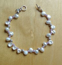 Pale cream Keishi pearl sterling silver bracelet - to match necklace