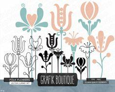 Folk flowers vector clip art flower heart by GrafikBoutique Paper Background Design, Floral Doodle, Flower Clipart, Vector Clipart, Stationery Paper, Arts And Crafts Movement, Folk, Clip Art, Invitations