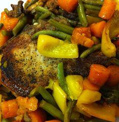 Skillet Roasted Pork Loin Chops, Carrots, Green Beans, Bell Pepper, and Mushrooms (plate)