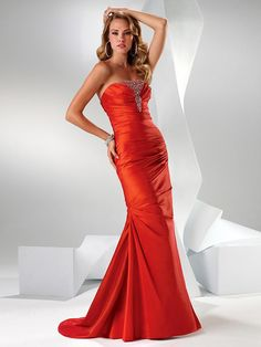 orange evening dress