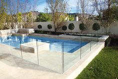 Modern Garden Design Ideas With Outdoor Living Space With Above Ground White Swimming Pool And Transparent Pool Fence Ideas Glass Pool Fencing, Glass Fence, Pool Fence, Backyard Fences, Pool Gates, Backyard Ideas, Brick Columns, Brick Fence, Concrete Fence