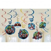 Dazzle the villains with these Avengers Swirl Decorations! These super hanging decorations include blue, red and gold foil swirls and cardstock cutouts. Cutouts feature illustrations of Hulk, Thor, Iron Man and Captain America in action. Hulk Party, Superhero Party, Avenger Party, Decoration Birthday Party, Birthday Party Favors, 4th Birthday, Iron Man, Anniversaire Captain America, Thor