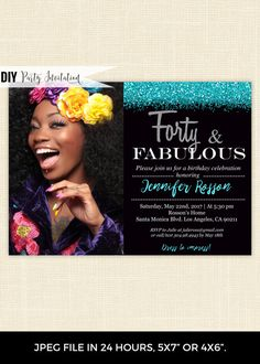 Get Now Fabulous 40th Birthday Invitation With Photo This Digital Printable On Black Background