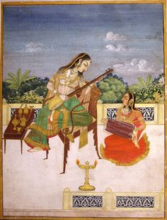 The waiting heroine passing her time while playing on sitar and with her companion on dholak, Pratapgarh in Mewar Area, Rajasthan, late century. c/o Daljeet Kaur. Mughal Paintings, Indian Paintings, Indian Traditional Paintings, Indiana, History Of India, African Art, Art And Architecture, Art World, Folk Art