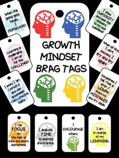 Growth Mindset Brag Tags from Smarter Together on http://TeachersNotebook.com (13 pages)