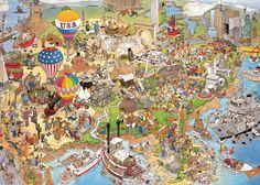 Ceaco Jan Van Haasteren Crowd Pleasers USA Jigsaw Puzzle 1000 pieces Puzzle assembled is x High gloss image on package for reference Collect all styles in your favorite artist's collection Made in the USA Puzzle Art, Puzzle 1000, Picture Writing Prompts, France, Detail Art, Funny Art, Illustrations And Posters, Cartoon Art, Cool Artwork