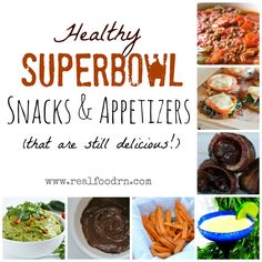 Healthy Superbowl snacks appetizers chili sweets beverages and more! Now you can have a healthy game day party and still enjoy delicious foods! Healthy Superbowl Snacks, Paleo Appetizers, Appetizer Recipes, Snack Recipes, Healthy Recipes, Healthy Deserts, Quick Snacks, Free Recipes, Healthy Food
