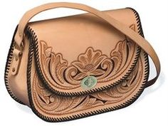 Revival Handbag Kit - This classic design features a large interior compartment with a zippered inside pocket to carry your most needed items. Kit includes pre-cut and. Leather Kits, Leather Craft Kits, Leather Projects, Leather Crafting, Tooled Leather Purse, Leather Purses, Leather Wallet, Leather Handbags, Leather Bag Tutorial