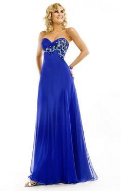 Multi A-line Floor-length Strapless Royal Blue Chiffon Dress