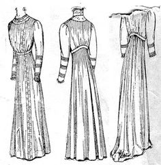 Tucked or gathered semi-princess dress with one seam leg-o'-mutton sleeves, Butterick- 1909