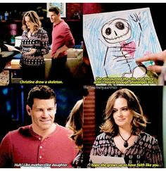 """Christine drew a skeleton"" - Temperance and Seely #Bones"