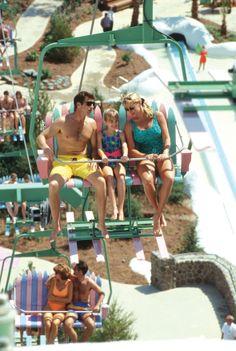 Walt Disney World, Disney's Blizzard Beach Water Park - Chair Lift Disney World Water Parks, Walt Disney World, Disney World Resorts, Disney Vacations, Disney Blizzard Beach, Cheap Adirondack Chairs, Outdoor Lounge Chair Cushions, Florida 2017, Travel