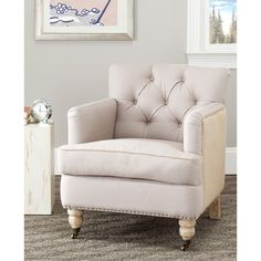 Safavieh Manchester Two-toned Linen/ Jute Beige Club Chair | Overstock.com Shopping - Great Deals on Safavieh Chairs