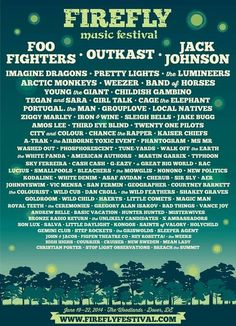Firefly Music Festival lineup -if only I could make it there this summer!!