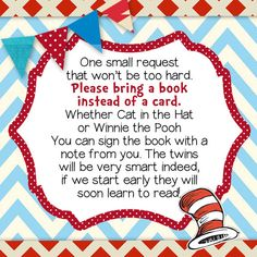 TWIN BOOK INSERT Dr. Seuss Twin Printable by BlissfulBethDesigns, $4.00