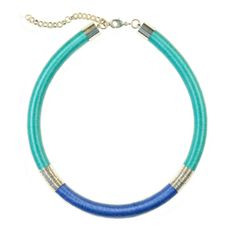 KASAI TUBE NECKLACE | Aqua, Powder Blue and Silver. Zowie Accessories