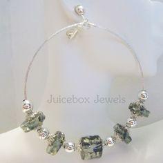 CLIP ON 3 inch Green Silver tone Handmade BIG Chunky Fashion Hoop Earrings V46 #Handmade #Hoop