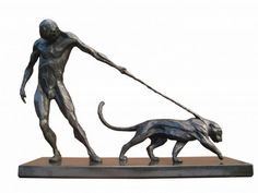 Bronze Cats Wild and Big Cats sculpture by artist Keith Calder titled: 'Denial (Small Stylised nude Man and Big Cat statue/statuettes/bronze)'