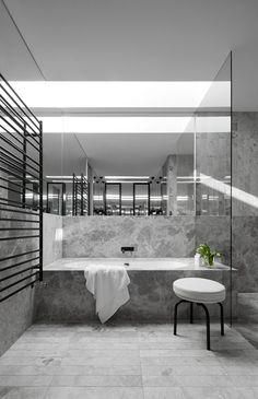 Portsea grey marble bathroom by Mim Design Grey Marble Bathroom, Grey Bathrooms, Serene Bathroom, Master Bathrooms, Simple Bathroom, Bathroom Design Inspiration, Bad Inspiration, Mim Design, Bathroom Interior