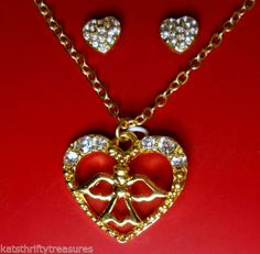 Angel-in-Heart-Necklace-with-Heart-Shaped-Stud-Earrings-Costume-Jewelry-Box-Set