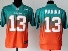 Nike Miami Dolphins #13 Dan Marino Green/Orange Fadeaway Elite Jersey