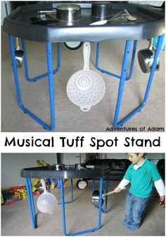 Musical Tuff Spot Stand Adventures of Adam. Use pots and pans to explore the sense of sound using your Tuff Spot stand. Preschool Music Activities, Eyfs Activities, Nursery Activities, Preschool At Home, Preschool Activities, Preschool Plans, Preschool Projects, Educational Activities, Music Area Eyfs