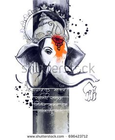 paint style illustration of Lord Ganesha in with message Shri Ganeshaye Namah Prayer - buy this vector on Shutterstock & find other images.