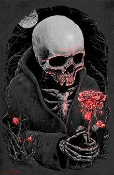 Скелет с розой