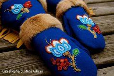 Gauntlets by Lisa Shepherd, Metis artist. Native American Seed, Native American Beadwork, Native American Fashion, Native Fashion, Sewing Leather, Leather Craft, Beading Patterns, Beading Ideas, Beaded Moccasins