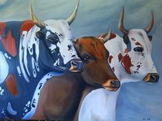 """Nguni Trio"" - Oils Painted by Xan Virgili. Original Sold. Orders and enquiries at xan.virgili88@gmail.com Art Gallery, Paintings, The Originals, Artist, Animals, Animales, Art Museum, Paint, Animaux"