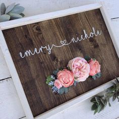 Rustic Nursery Baby Name heart personalized wood sign little girl room boho silk flowers hand paint - Baby Boy Names Baby Girl Names Personalized Wood Signs, Personalized Baby Shower Gifts, Ideas Hogar, Nursery Name, Nursery Room, Crafts For Girls, Hand Painted Signs, Little Girl Rooms, Silk Flowers