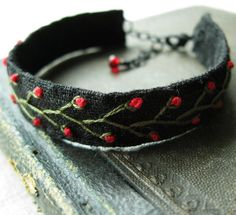 Embroidered Bracelet Green Vines and Red Flowers on by Sidereal, $22.00