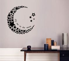 Find More Wall Stickers Information about Crescent moon and stars wall stickers living room bedroom background : wall decal cheap - www.pureclipart.com