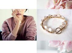 Chic Bracelet / Armband:  Vergoldete Elemente in der Form von abgestumpften Würfeln wirken besonders schön zusammen mit den großen Süßwasser Zuchtperlen.
