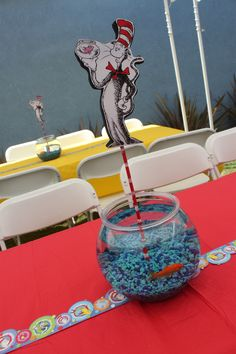 Vincent's Dr. Seuss party centerpieces.  Live goldfish.