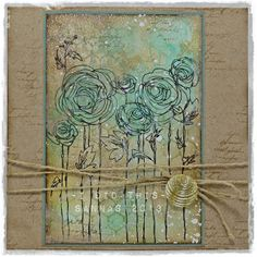 korttipaja SannaS - using stencils, stamps, goosebumps, sprays  water - very pretty.