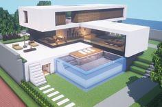 Minecraft Modern House Designs, Minecraft Modern Mansion, Minecraft House Plans, Easy Minecraft Houses, Minecraft House Tutorials, Minecraft Houses Blueprints, Minecraft City, Minecraft Construction, Minecraft Tutorial