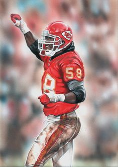 Derrick Thomas, Kansas City Chiefs by Kansas City Chiefs Football, Raiders Football, Kansas City Royals, Alabama Football, Nfl Chiefs, American Football, Nfl Football Players, Football Art, Vintage Football