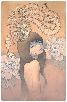 Audrey Kawasaki - her secret bird  Oil and graphite on wood 19x24  'Mayoi Michi' @ Copro Nason Gallery  2008  http://www.audrey-kawasaki.com/