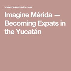 Imagine Mérida — Becoming Expats in the Yucatán Learning To Be, Merida, Places To Go, Blog, Reading, Word Reading, Blogging, Reading Books, Libros