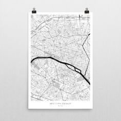 "Paris Poster BW 24""x36"" via The Map Crafter. Click on the image to see more!"