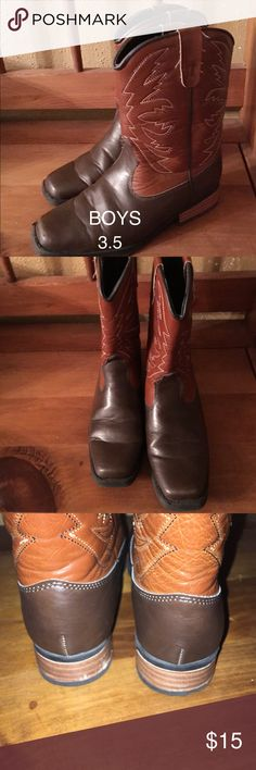 Square Toe Boy's Western Boots 3.5 These boots are in great used condition. My grandson wore them to school on rodeo day a couple of times. Great for a wide foot. The heels and sole are rubber . They are really adorable and very comfortable for kids. Smart Fit Shoes Boots