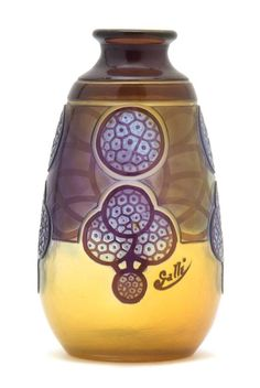 A Galle Cameo Glass Vase, of bottle form, decorated with stylized flowers, signed in cameo.