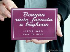 Proverbs Card, Old Irish saying - Gaeilge - Ireland greeting cards - made in the west of Ireland - lifestyle card Gaelic Words, Irish Proverbs, Irish Language, Old Irish, Irish Quotes, Grandparents, Beautiful Words, Languages, Celtic