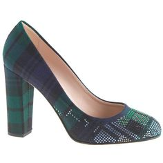 J.Crew Collection Etta plaid jeweled-toe pumps ($180) ❤ liked on Polyvore featuring shoes, pumps, jeweled pumps, wide heel pumps, chunky heel platform pumps, thick heel platform pumps and platform shoes