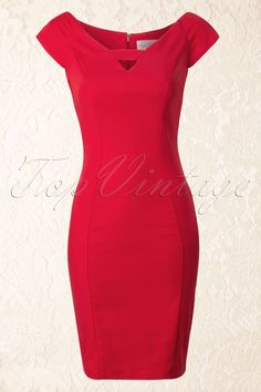 50s Sally Pencil Dress in Red